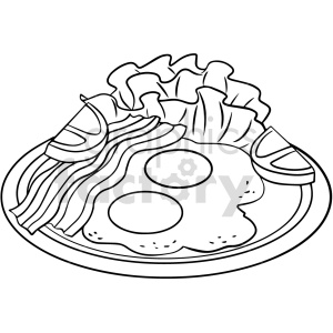 food bacon+eggs black+white