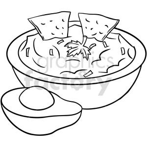 clipart - black and white guacamole bowl vector clipart.