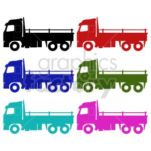 clipart - flatbed trucks vector clipart set.