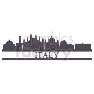 clipart - italy skyline vector graphic.