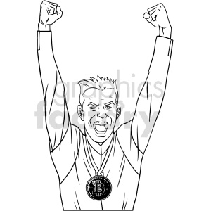 black and white cartoon man wearing bitcoin medal vector clipart