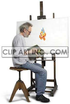 artist male painter paint wooden easel canvas brush paintbrush sitting stool working work contemplating thinking looking artists painting creativity  Photos People