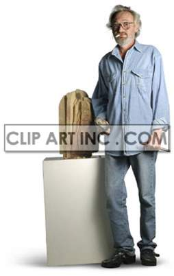 artist male sculptor sculpting working work contemplating thinking looking artists creativity hammer shaping sculpture carving   3a0025lowres photos people