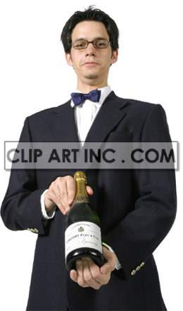 a man in a waiter uniform and glasses holding a bottle ready to serve