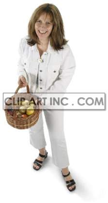 a woman holding a basket of fresh fruit