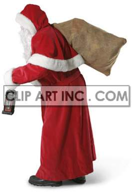 santa claus christmas giving offering gifts presents bag lantern festivity celebration   3F6025lowres Photos People