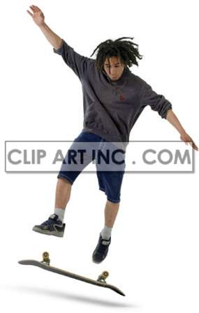 Teen Doing a Kick Flip on his Skateboard clipart. Commercial use image # 177511