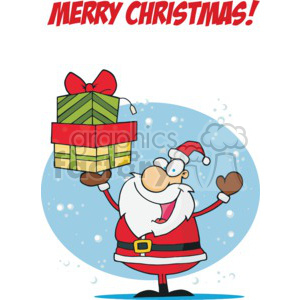 Merry Christmas Santa Claus holding presents clipart. Royalty-free image # 377830