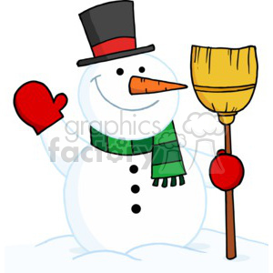 snowman in a red and black top hat wearing a green scarf and red mittens with broom in hand