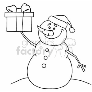 happy snowman holding up a christmas present clipart. Commercial use image # 377836