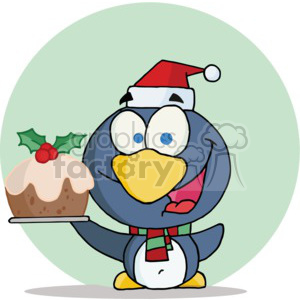 penguin holding up a fruit cake with holly on top clipart. Royalty-free image # 377840