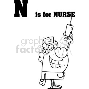 N is for Nurse with a Big Needle clipart. Royalty-free image # 377967