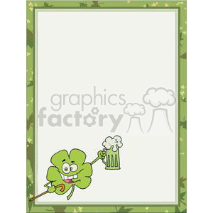 A shamrock toasting with a mug of green ale in a border  clipart. Royalty-free image # 377972