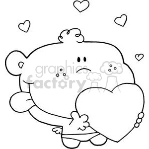 valentine cupid holding heart with Tongue Sticking Out clipart. Royalty-free image # 377997
