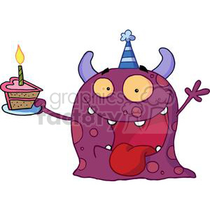 Happy Purple Two Horned Monster Celebrates Birthday With Pink Heart Shaped Cake And One Green Candle On It clipart. Commercial use image # 378007