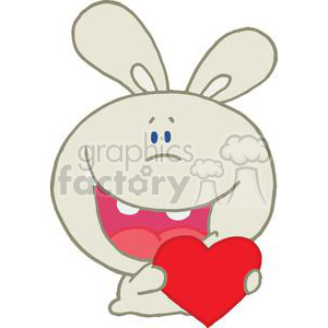 A Giddy Romantic Grey Rabbit Holds Red Valentines Heart clipart. Royalty-free image # 378012