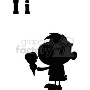 I as in Ice Cream A Silhouette Of A Boy Eating Ice Cream clipart. Commercial use image # 378017