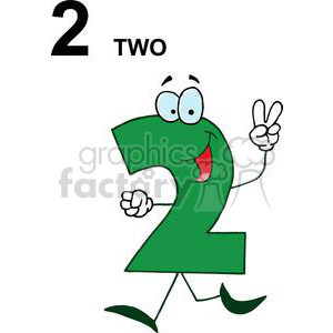 A Green Happy Numbers 2 clipart. Commercial use image # 378027