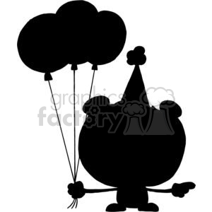 A Black Silhouette Happy Bear in Party Hat with Three Balloonso on a White Background