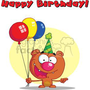 Happy Birthday Bear in party hat with balloons