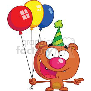 Brown bear wearing a birthday hat holding 3 three balloons clipart. Royalty-free image # 378072