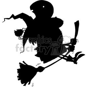 Cartoon Silhouette Witch and Spider Ride Broom clipart. Royalty-free image # 378077
