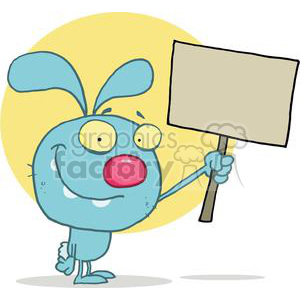 Easter Rabbit Holds Blank Tan Sign clipart. Commercial use image # 378097