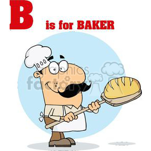 A Baker Man with B is for baker above him clipart. Commercial use image # 378102
