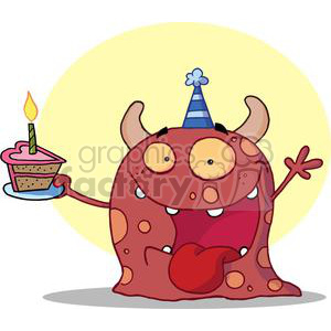 happy red-monster celebrates birthday with cake