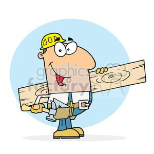 clipart RF Royalty-Free Illustration Cartoon funny character carpenter carpenters construction building board handyman