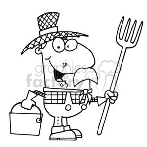 black and white cartoon farmer in a straw hat