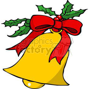 Christmas Bell with A red Ribbon and Mistletoe