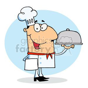 A Man in a Chef Hat and a Covered Serving Platter clipart. Royalty-free image # 378137