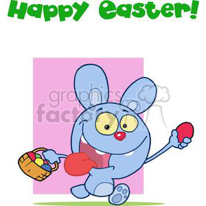 Blue easter bunny running with a basket of eggs with happy easter sign in green clipart. Royalty-free image # 378142