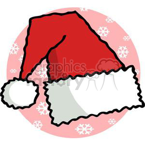 santa hat in front a pink background with white snowflakes clipart. Royalty-free image # 378147