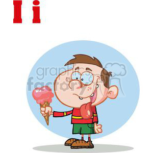 I for Ice Cream A little boy eating strawberry Ice Cream clipart. Royalty-free image # 378157