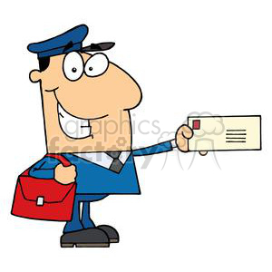 cartoon post office worker holding out letter clipart. Commercial use image # 378162
