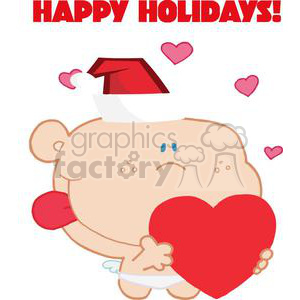 Romantic Cupid with Heart dressed for the Holidays clipart. Commercial use image # 378172