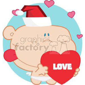 Cupid with Love spelled on a Heart clipart. Royalty-free image # 378177