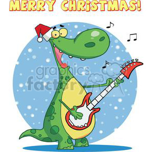 Dinosaur Plays Guitar On Christmas clipart. Commercial use image # 378187