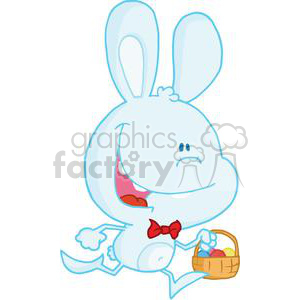Happy Bunny Running with a Basket Full of Eggs clipart. Royalty-free image # 378192