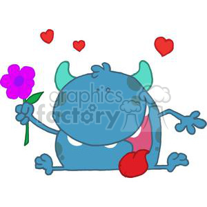 Monster with Purple flower in Hand clipart. Royalty-free image # 378212
