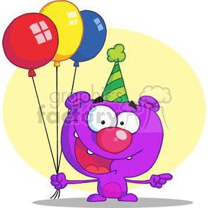 Happy Purple Bear in a Green Party Hat with Balloons clipart. Commercial use image # 378227