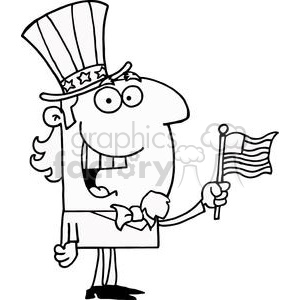Abe Lincoln with American Flag clipart. Royalty-free image # 378232