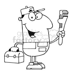 clipart RF Royalty-Free Illustration Cartoon funny character  plumber plumbers construction pipe pipes wrench handyman guy guys