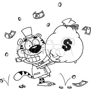Happy Tiger With A Big Bag Of Money clipart. Royalty-free image # 378262