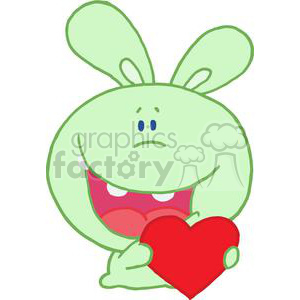 Romantic Green Rabbit Holds Heart Smiling clipart. Royalty-free image # 378272