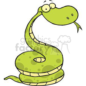 A Green Yellow Snake clipart. Commercial use image # 378282