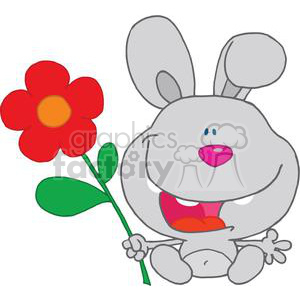 Happy Rabbit Holds Flower Smiling clipart. Royalty-free image # 378292