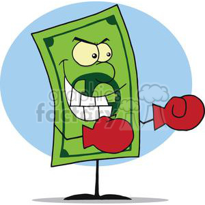 Dollar Bill Wearing Boxing Gloves Ready for Battle clipart. Royalty-free image # 378297